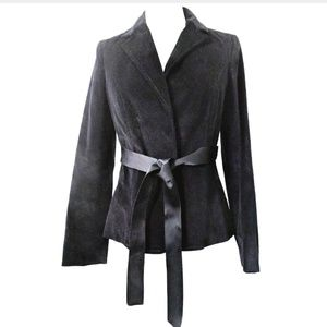 Gap Velour Velvet Jacket 6 Black Wrap Front Tie